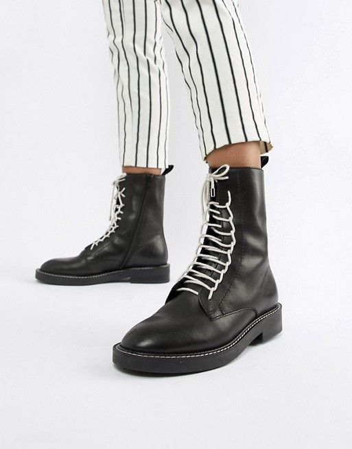 ae259d91928 ASOS DESIGN Alarm leather lace up boots | BOO'T UP | Leather lace up ...