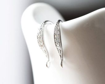 2273_1_Sterling silver earring hooks 16 mm, Rhodium plated earrings, Cubic zirconia earring hook, Fish hook earring, Zirconia earring hooks - Edit Listing - Etsy