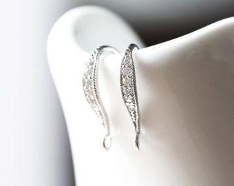 2273_1_Sterling silver earring hooks 16 mm, Rhodium plated earrings, Cubic zirconia earring hook, Fish hook earring, Zirconia earring hooks - Edit Listing - Etsy
