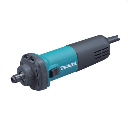 Makita GD0602 Die Grinder     Compact body with short nose.     Anti-slip rubber cover for easy handling.     Round-shaped collet nut reduces the possibility of damages/ scratches to workpiece.     Switch lever conveniently located for one hand operation.     Vent slots designed to direct the exhaust air stream towards the opposite side of the operator. For More Details: http://www.mrthomas.in/makita-gd0602-die-grinder_48