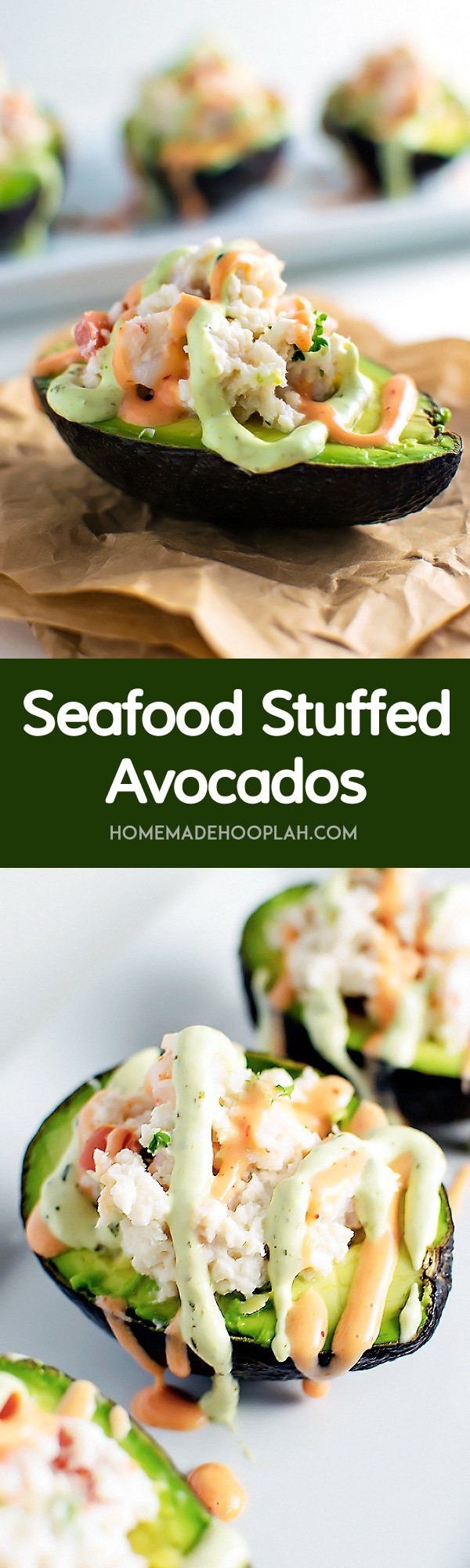 Seafood+Stuffed+Avocados!+Halved+avocados+filled+with+chopped+shrimp,+fresh+crab,+and+tomato+and+then+drizzled+with+sriracha+and+avocado+creams+on+top.+|+HomemadeHooplah.com