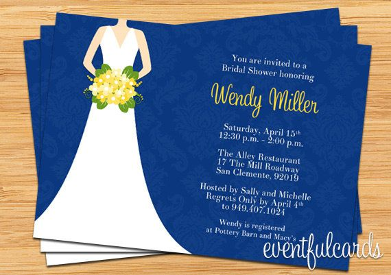 Navy and Yellow Bridal Shower Invitation by eventfulcards on Etsy