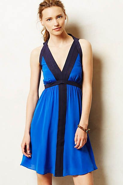 Lapis Halter Dress.  Dramatic. Simple lines. Great color.