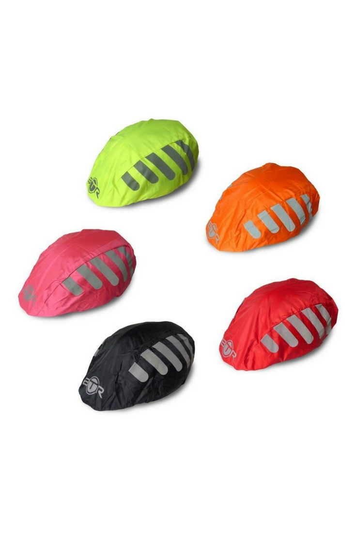 High visibility waterproof helmet cover with reflective stripes, from BTR. Winter cycling gear for the head