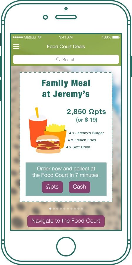 Food Court Deals – The Shopping Mall Reviver ™ mobile application; Gaining loyalty program embedded into our solution, makes it easy for your guests to collect and spend points in your mall, thus making each visit more interesting. In connection to accurate navigation you can easily gamify the experience adding points for check-ins number of visits, events attendance and exchange them for in mall leisure activities.