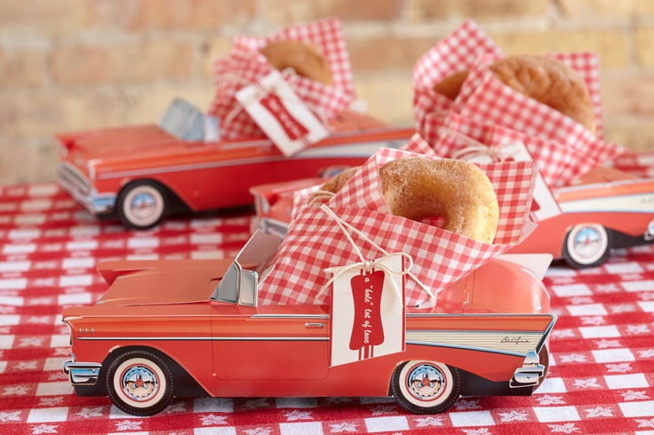 Mini Donuts. Display in cardboard diner cars and they're ready to go for baby shower guests.