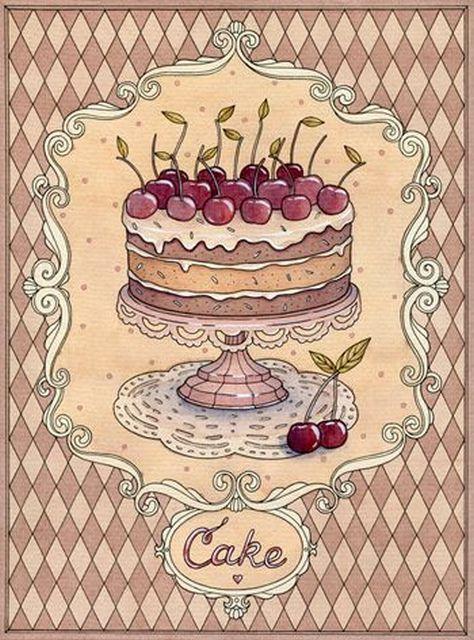 Картинки, торт винтажная открытка