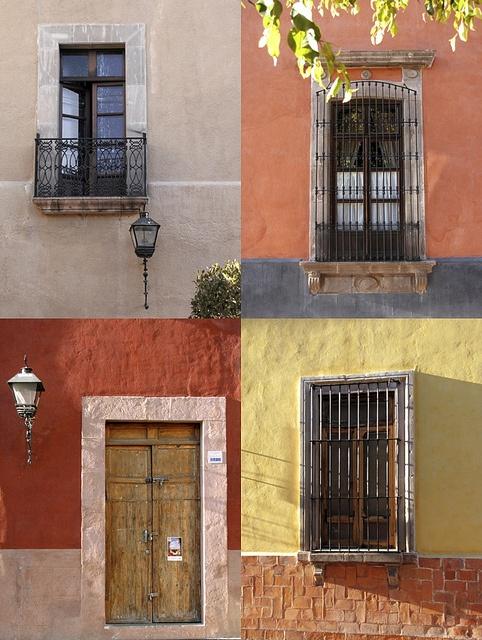 windows and doors in Queretaro, Mexico. nice color.