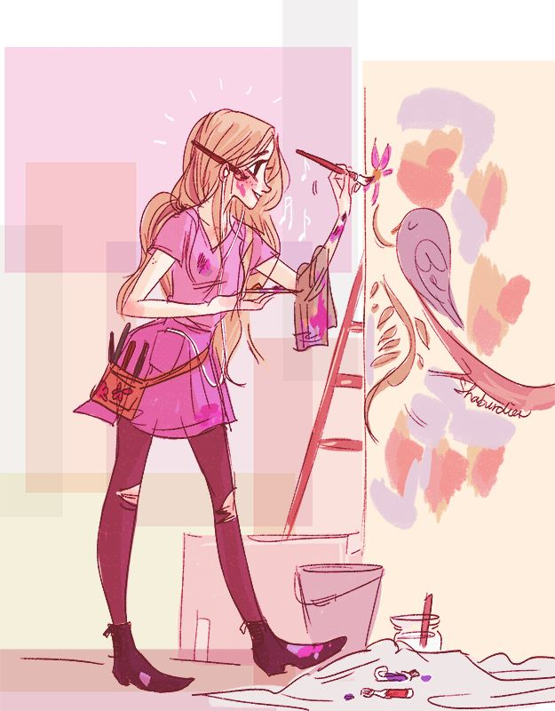 [Image: fanart of Rapunzel from Tangled. Wearing a dress and shoes with paint splatters on them and tights with holes at the knees, Rapunzel is grinning as she paints a large picture of a bird and...