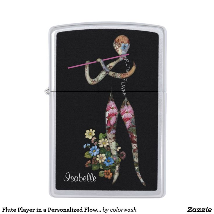 Flute Player in a Personalized Flower Garden Zippo Lighter - It's a salute to music, flutes, and flowers all at the same time in a uniquely modern vision, the flute player being built of flowers. Edit the placeholder name to personalize it for yourself or someone else. #Zippo #flute #music