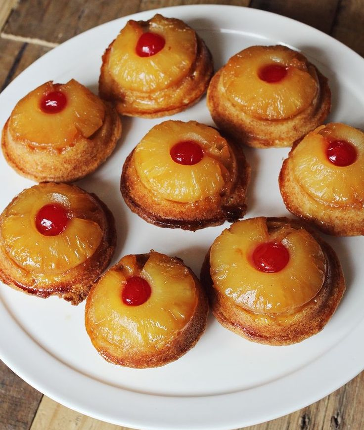 """Mini Pineapple Upside Down Cakes. Mini in Size Doesn't have to Mean Mini in Taste or Presentation! You and your friends have just gorged yourself on one heck of a barbque......and as you set back for a few minutes you begin to think, """"Something not to sweet or heavy"""" for dessert would be great right about now....Well here is!  