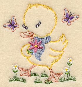 "Duckling and Butterflies (Vintage), 3.57Wx3.86"" $1.01"