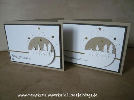 Weihnachtskarte Stampin up, Idee von Tanja Kolar, Schlittenfahrt, Kling Glöckchen,