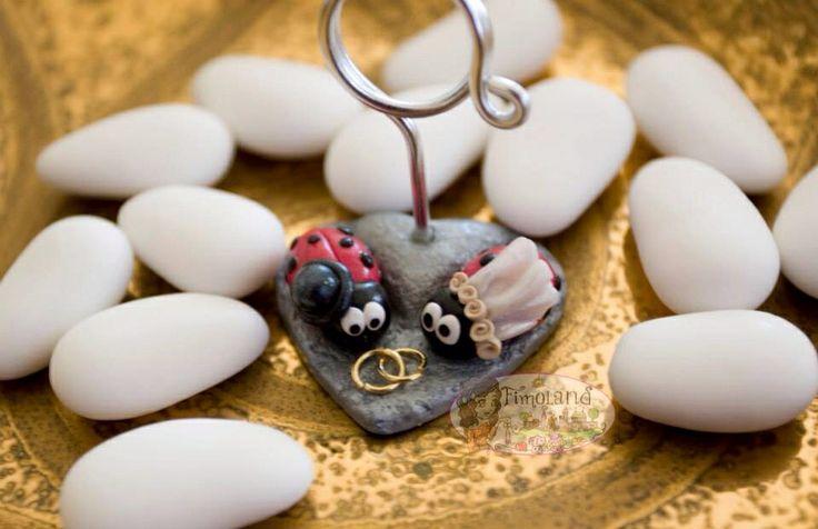 Porta foto matrimonio in Fimo, con coccinelle sposi e torta nuziale! Polymer clay - handmade