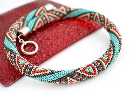 Bead Crochet Necklace Eastern Melody by Chudibeads on Etsy, $73.00