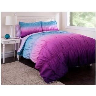 Teen Bedding Purple & Blue Teen Girls Tie Dye Full Comforter Set (7 Piece Bed In A Bag) - Home - Bed & Bath - Bedding - Comforters