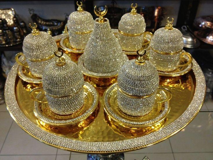 Handmade Copper Turkish Coffee Espresso Serving Cup Swarovski Crystal Coated Cup