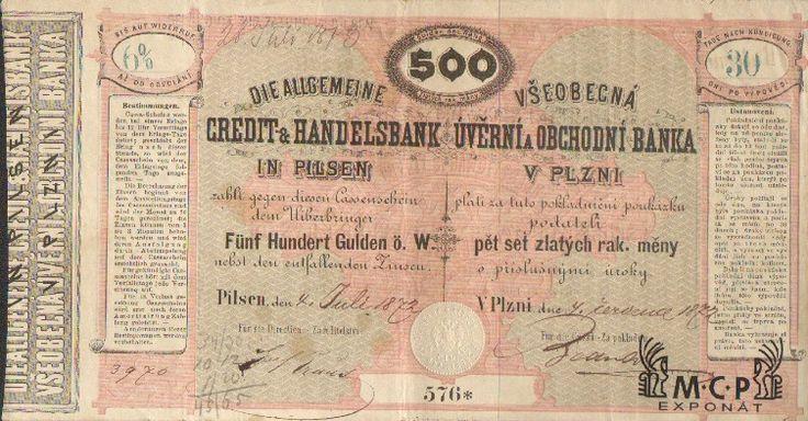 Muzeum cennych papiru A2332 Všeobecná úvěrní a obchodní banka v Plzni 1872