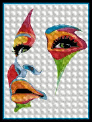 point de croix visage de femme multicolore - cross stitch multicoloured woman's…