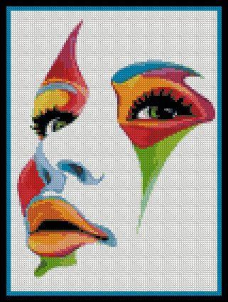 point de croix visage de femme multicolore - cross stitch multicoloured woman's face  by PaulaHowardPatterns, $18.00