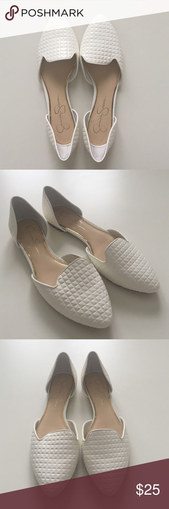 Jessica Simpson Patent Flats Leather, white, never worn Jessica Simpson Shoes Flats & Loafers