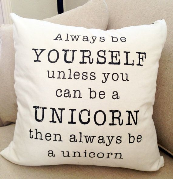 Always Be A Unicorn 18x18 Decorative Pillow Cover White and Black Polka Dot on Back, Accent Pillow on Etsy, $31.82 CAD