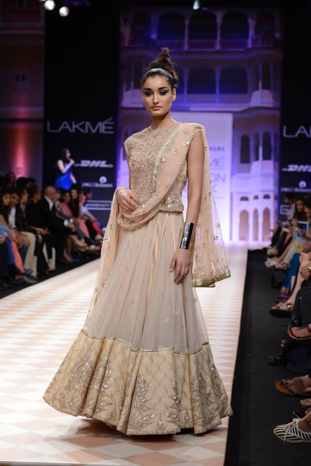 Blush pink lengha by Anita Dongre at LFW 2013
