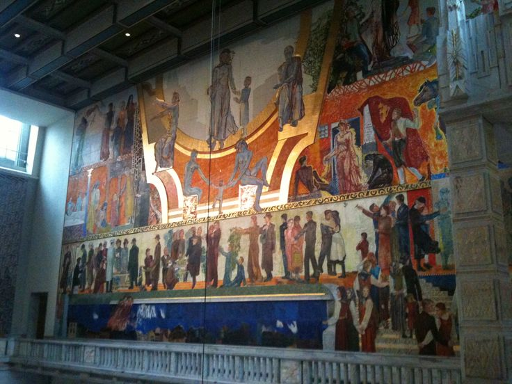 Henrik Sørensen's oil painting on the rear wall of the ceremonial main hall, is the largest in Europe.