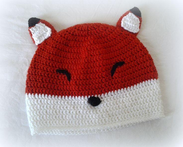crochet fox beanie hat
