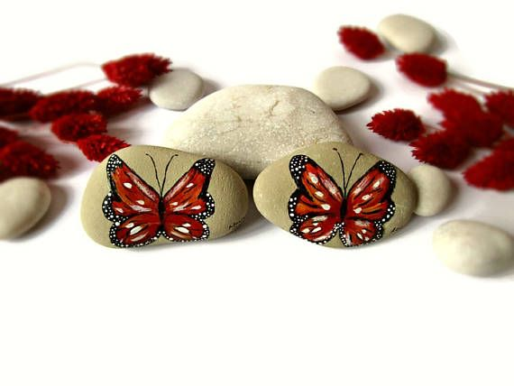 Spring decorations, spring decor, tiny gifts, painted rocks, yard decor, yard decorations, garden decor, outdoor decor, butterfly decoration