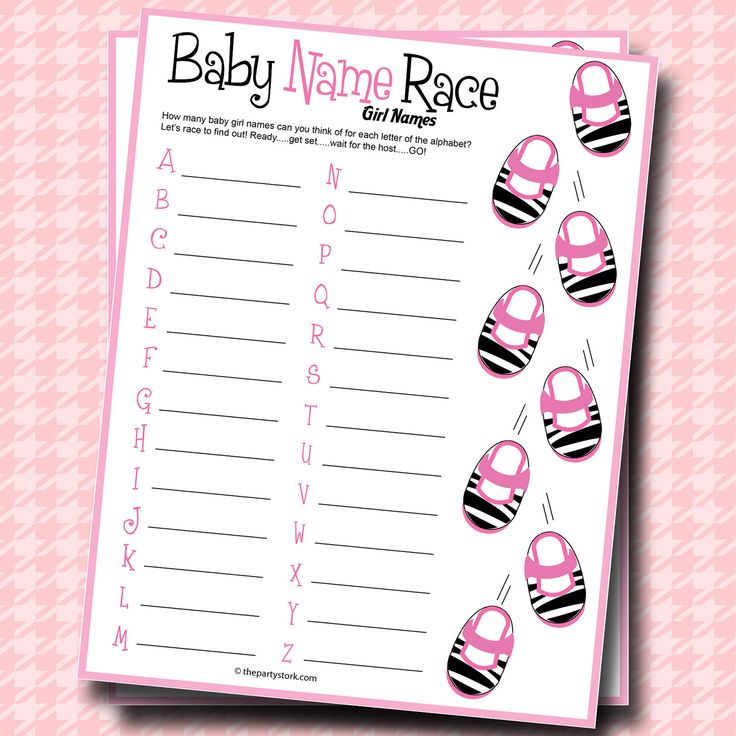 Baby shower games printable baby girl name race game