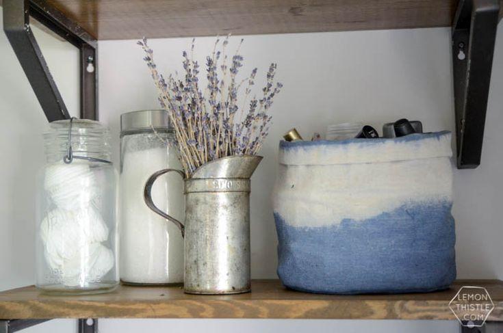 DIY Dip Dye Cloth Baskets: Bathroom Organization! - Lemon Thistle
