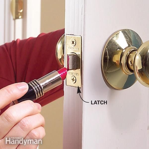 When houses settle, doors can settle along with them, resulting in misaligned door latches. Solve the problem with a file, a chisel, and a dab of lipstick (any shade will do).