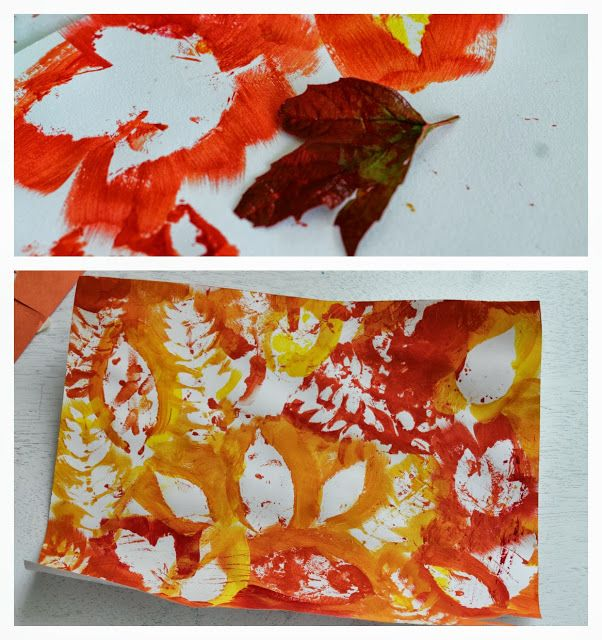 Painting with leaves we collected. Fun and easy fall craft