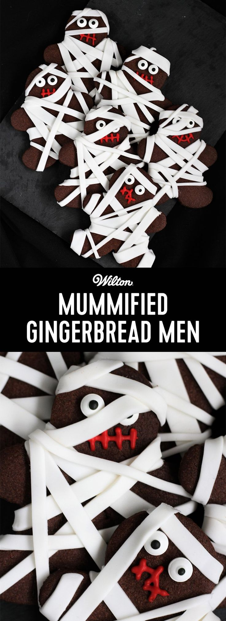 How to Make Mummified Gingerbread Men - 'Trick or Treat' What sort of scary face will you give each of these Mummified Men? Simply wrap gingerbread men cookies will white strips of white fondant for the mummified look! These would look super cute packaged in some Halloween treat bags.