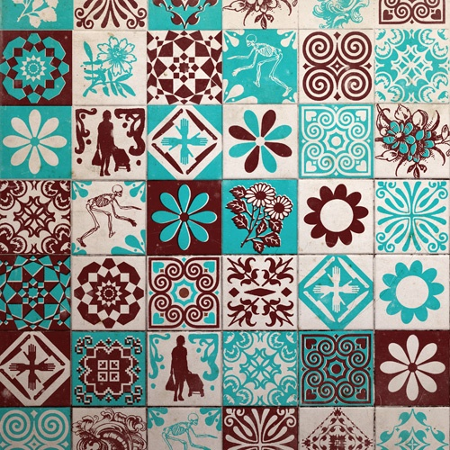 I like the idea of having squares of mixed patterns in a limited palette