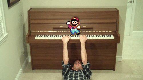 Backwards Piano Man Plays Super Mario Song While…Backwards