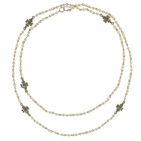Virgins Saints and Angels Louisa Marie Wrap Necklace in Gold with Pearl