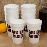 "Don't miss an opportunity to show off some team pride at your next tailgate with this 10-pack of fun foam cups. Each cup features ""Gig 'Em Aggies!"": Team Slogan, Mississippi States Bulldogs, Arizona Wildcats, Arkansas Razorbacks, Florida States Seminoles, Football Parties, Slogan Foam, Georgia Bulldogs, Foam Cups"