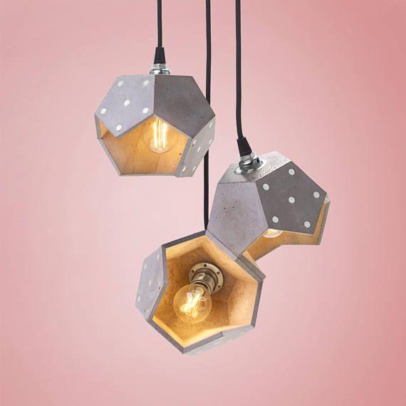 Concrete pendant light concrete lamp pendant lamp plato design geometric lamp magnetic lamp basic twelve trio silver