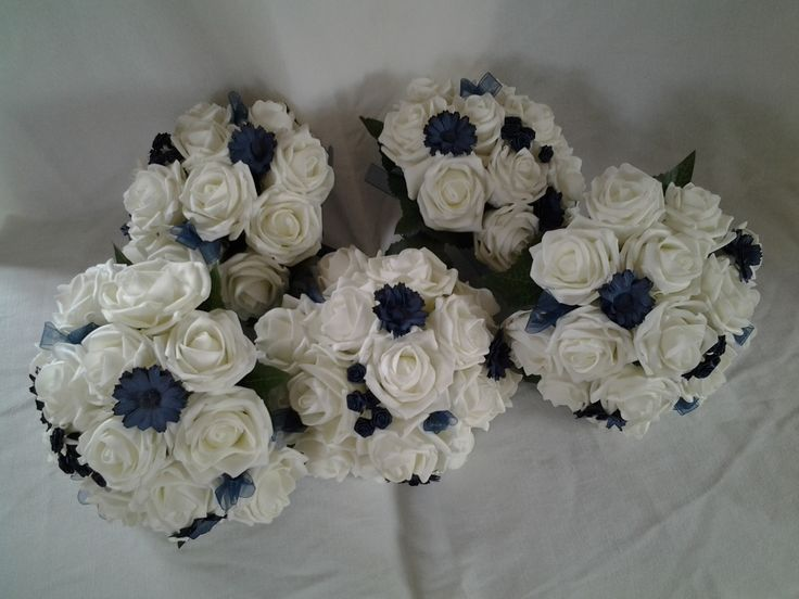 Poly foam ivory and navy bouquets