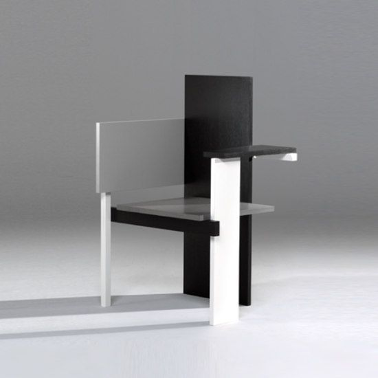 Berlin Chair by Gerrit Rietveld in 1923. It was made in the Netherlands and he used flat panels to construct the chair.