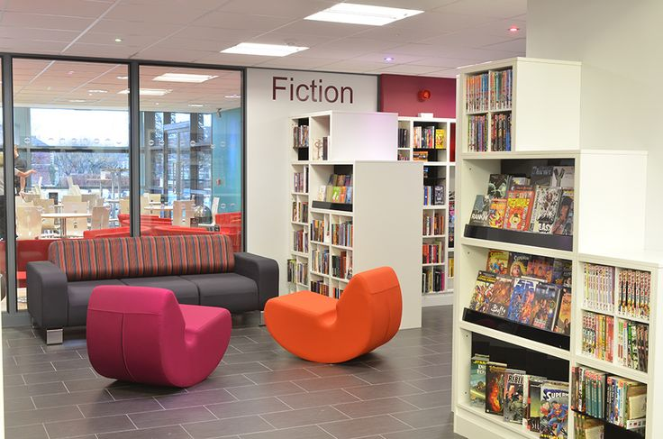 Gateshead library design - cube shelving created specially for young adult library users - 12-16