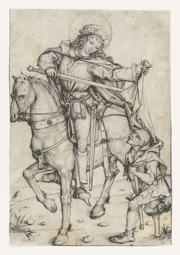 Meester van het Amsterdamse Kabinet | Heilige Maarten te paard, Meester van het Amsterdamse Kabinet, 1475 - 1480 | De heilige Maarten te paard, snijdt met zwaard zijn mantel door. Aan zijn linkerhand de kreupele bedelaar.