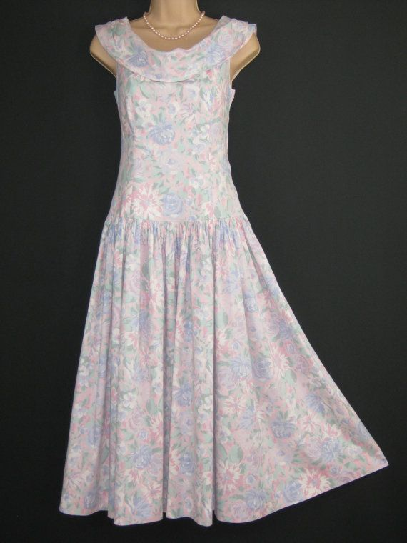 LAURA ASHLEY Vintage Country Pastel Flower Summer / Occasion Dress, UK 10/12