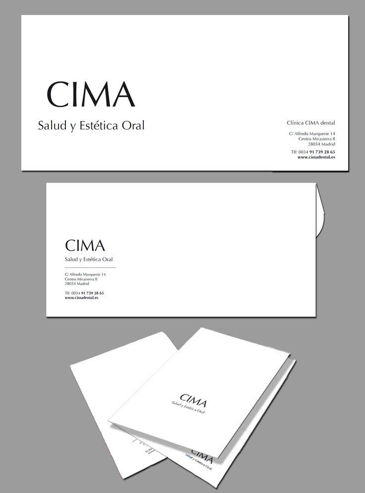 Diseño de Tarjetones, Sobre y Carpetas de la empresa CIMA Salud y estética