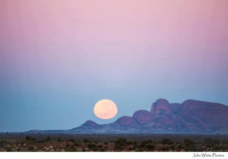 moon over kata Tjuta, NT, Australia
