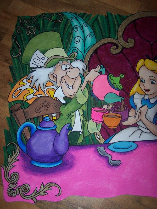 This is a hand painted wallpaper all murals are painted for Alice in wonderland wallpaper mural
