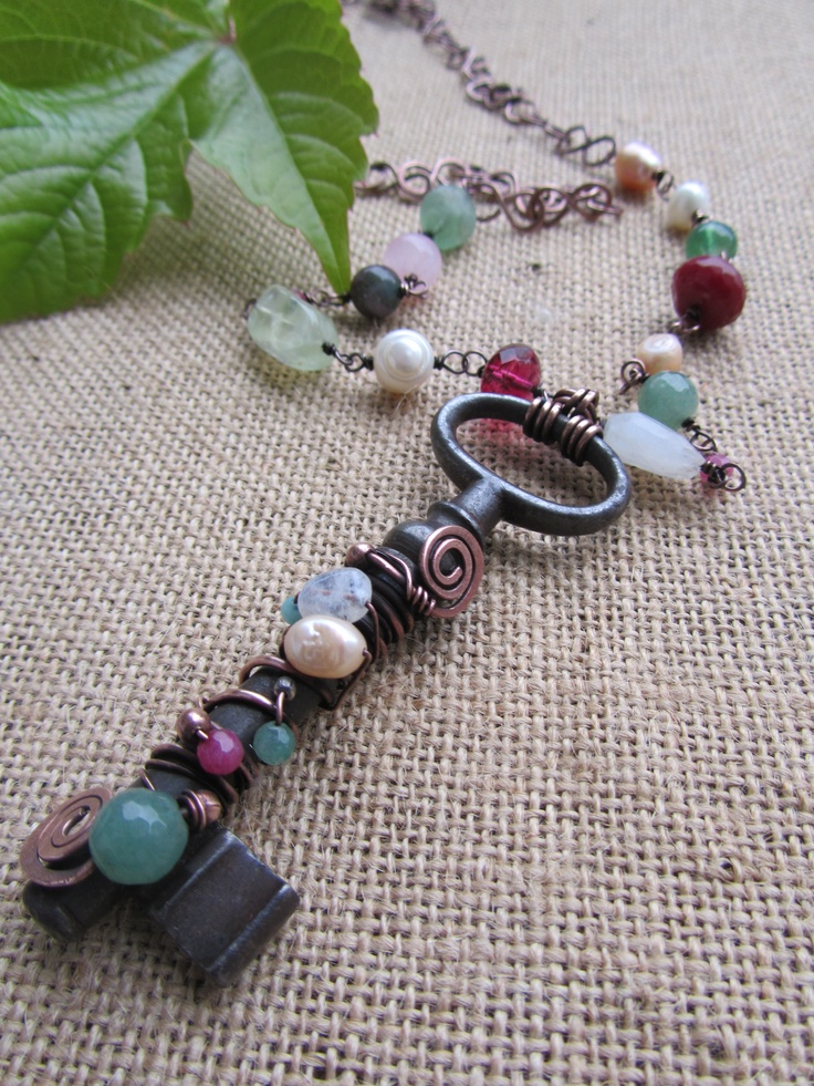 Wire wrapped old key pendant: copper wire, gemstones and glass beads