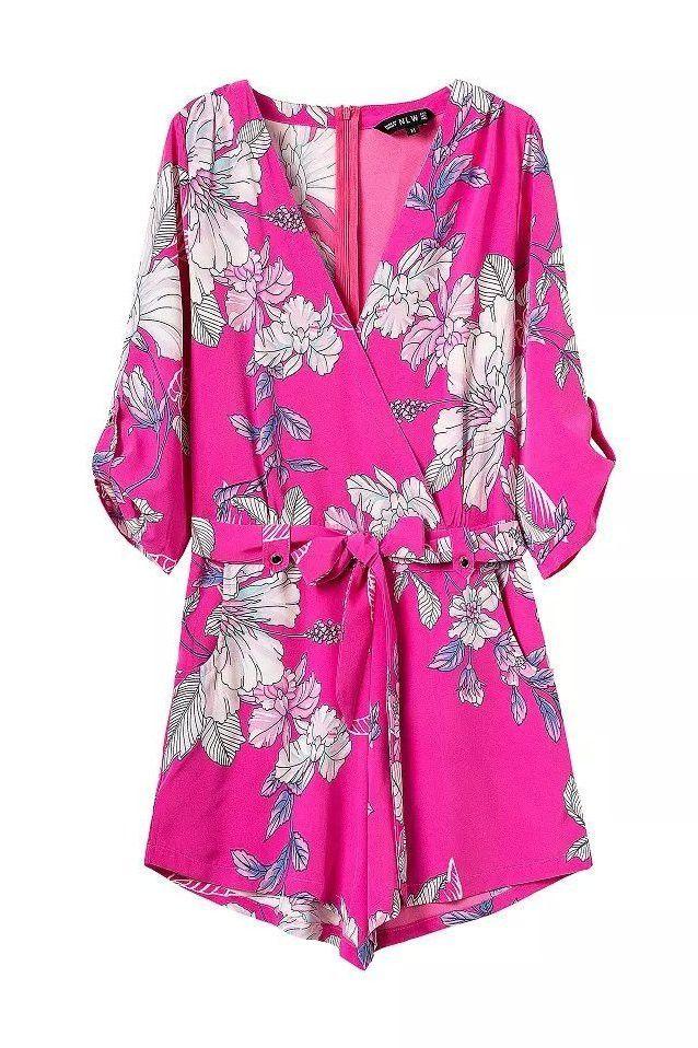 Pink Floral Print Silky Chiffon Romper